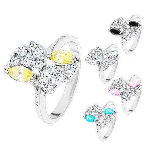 Levně Prsten ve stříbrném odstínu, vroubkovaná ramena, barevné a čiré zirkony - Velikost: 58, Barva: Čirá