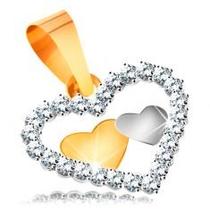 Přívěsek v kombinovaném zlatě 585 - dvě malá srdíčka v kontuře srdce ze zirkonů