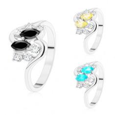 Prsten se zvlněnými rameny, stříbrný odstín, barevná zrnka a čiré zirkony