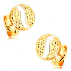 Zlaté puzetové náušnice 585 - malý kruh s vlnkou z bílého zlata a s tečkami