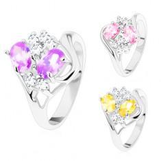 Prsten s lesklými rozdělenými rameny, barevné ovály, čiré zirkonky