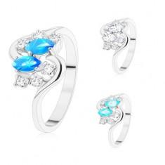 Prsten ve stříbrném odstínu, dvě barevná zrnka a kulaté zirkony čiré barvy