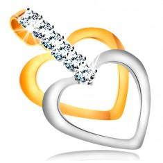 Dvoubarevný přívěsek ve 14K zlatě - úzké kontury souměrných srdcí, pás čirých zirkonů