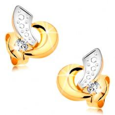 Zlaté náušnice 585 - obloučky z bílého a žlutého zlata, čirý zářivý briliant