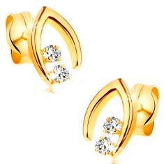 Diamantové náušnice ve žlutém 14K zlatě - dvojice briliantů ve špičaté podkůvce