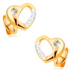 Briliantové náušnice ze 14K zlata - dvoubarevné srdíčko s výřezem a diamantem