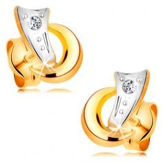 Dvoubarevné náušnice ve 14K zlatě - dva obloučky a třpytivý diamant čiré barvy