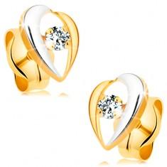 Náušnice ze 14K zlata - zahnuté linie lemující čirý diamant, dvoubarevné