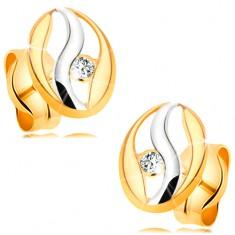 Diamantové náušnice ve 14K zlatě - obrys oválu s vlnkou z bílého zlata, briliant