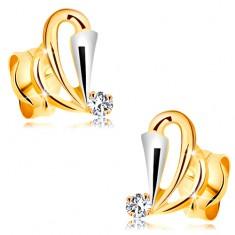 Zlaté náušnice 585 s čirým diamantem - kontury slziček, rozšířený pás z bílého zlata