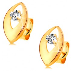 Briliantové náušnice ve žlutém 14K zlatě - zářivý diamant v lesklém zrnku