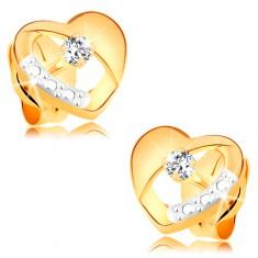 Náušnice ze 14K zlata - souměrné dvoubarevné srdíčko s diamantem a výřezem