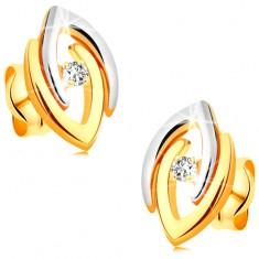Náušnice ve 14K zlatě - spojené dvoubarevné podkovy a čirý zářivý briliant