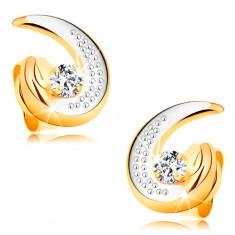Zlaté náušnice 585 - částečná dvoubarevná kontura slzy, kulatý čirý diamant