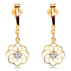 Diamantové náušnice ze žlutého 14K zlata - visící květ s blýskavým briliantem