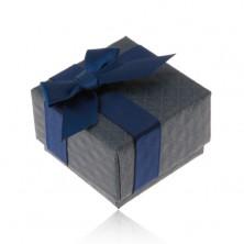 Dárková krabička na prsten, přívěsek a náušnice, tmavě modrá barva, mašlička