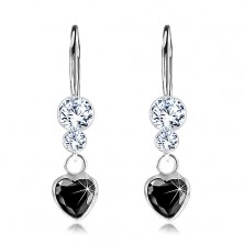 Stříbrné 925 náušnice, černé zirkonové srdíčko, čiré krystaly Swarovski