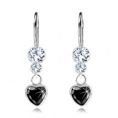 Stříbrné 925 náušnice, černé zirkonové srdíčko, čiré krystaly Swarovski PC27.11