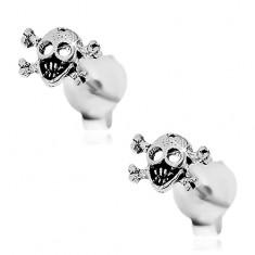 Patinované náušnice, stříbro 925, lebka s překříženými kostmi