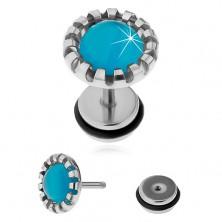 Ocelový fake plug do ucha, syntetický kámen - kočičí oko světle modré barvy