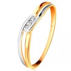 Diamantový prsten ze 14K zlata, tři čiré brilianty, rozdělená zvlněná ramena