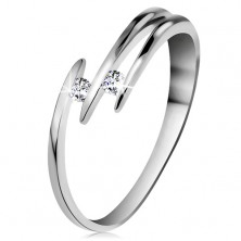 Briliantový prsten z bílého 14K zlata - dva blýskavé čiré diamanty, tenké linie ramen