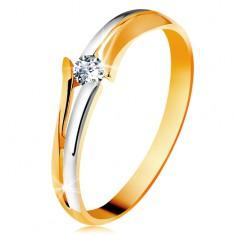 Diamantový zlatý prsten 585, zářivý čirý briliant, rozdělená dvoubarevná ramena