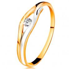 Briliantový prsten ve 14K zlatě - diamant v úzkém výřezu, dvoubarevné linie