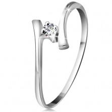 Zlatý prsten 585 - zářivý čirý briliant, tenká zahnutá ramena, bílé zlato
