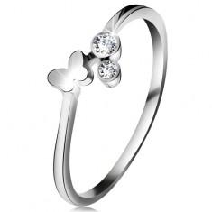 Diamantový prsten z bílého 14K zlata - dva čiré brilianty, lesklý motýlek