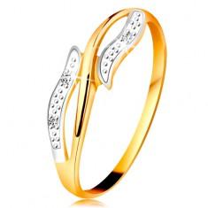 Diamantový prsten ze 14K zlata, zvlněná dvoubarevná ramena, tři čiré diamanty