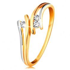 Diamantový zlatý prsten 585, tři zářivé čiré brilianty, rozdělená dvoubarevná ramena