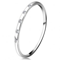 Prsten v bílém 14K zlatě - pět drobných čirých diamantů, tenký kroužek