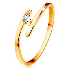 Diamantový prsten ve žlutém 14K zlatě - zářivý čirý briliant, tenká prodloužená ramena