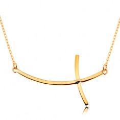 Zlatý náhrdelník 585 - křížek se zahnutými rameny na řetízku z oválných oček