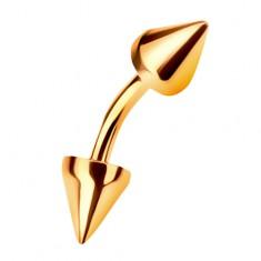 Zlatý 9K piercing do obočí ukončený dvěma kuželovitými hroty