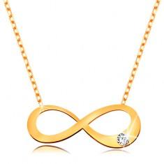 Zlatý 14K náhrdelník - plochý symbol nekonečna s čirým briliantem, blýskavý řetízek
