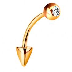 Piercing ve žlutém 9K zlatě - zahnutá činka s kuličkou a kuželem, čirý zirkon