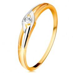 Diamantový prsten ze 14K zlata, dvoubarevná ramena s výřezy, čirý briliant