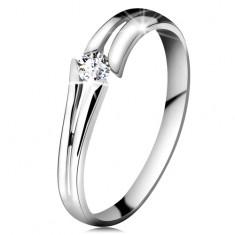 Zlatý prsten 585 se zářivým čirým briliantem, rozdělená ramena, bílé zlato