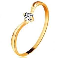 Prsten ze žlutého zlata 585 - lesklá zahnutá ramena, blýskavý čirý diamant