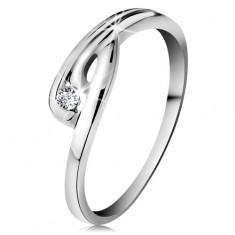 Prsten v bílém 14K zlatě - zářivý čirý diamant, zahnutá ramena se zářezem BT178.31/38