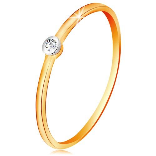 Levně Zlatý dvoubarevný prsten 585 - čirý briliant v kruhové objímce, tenká ramena - Velikost: 57