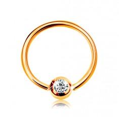 Zlatý 9K piercing - lesklý kroužek a kulička se vsazeným zirkonem čiré barvy, 8 mm