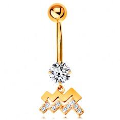 Piercing do pupíku ve žlutém 9K zlatě - čirý zirkon, symbol znamení VODNÁŘ