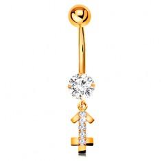 Zlatý 9K piercing do bříška - čirý zirkon, blýskavý symbol zvěrokruhu - STŘELEC