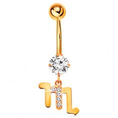 Piercing do pupíku ze žlutého zlata 375 - čirý zirkon, symbol zvěrokruhu - ŠTÍR