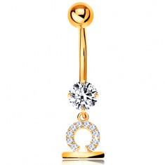 Zlatý 375 piercing do bříška - čirý zirkon, lesklý symbol zvěrokruhu - VÁHY