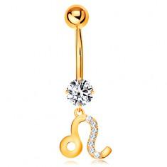 Piercing do pupíku ze žlutého zlata 375 - čirý zirkon, symbol zvěrokruhu - LEV