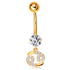 Zlatý 9K piercing do bříška - čirý zirkon, blýskavý symbol zvěrokruhu - RAK